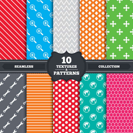 Seamless patterns and textures. Magnifier glass and globe search icons. Fullscreen arrows and wrench key repair sign symbols. Endless backgrounds with circles, lines and geometric elements. Vector Vector