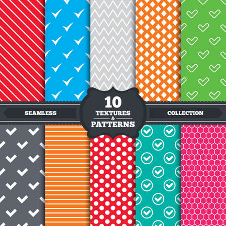 confirm: Seamless patterns and textures. Check icons. Checkbox confirm circle sign symbols. Endless backgrounds with circles, lines and geometric elements. Vector