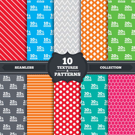 Seamless patterns and textures. Sale discount icons. Special offer price signs. 10, 20, 25 and 30 percent off reduction symbols. Endless backgrounds with circles, lines and geometric elements. Vector Vector