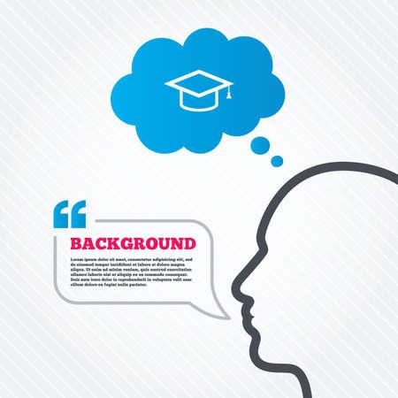 Cabeza con bocadillo. Casquillo de la graduación icono de la muestra. Símbolo de la educación superior. Piense fondo con cotizaciones y textura perfecta. Vector