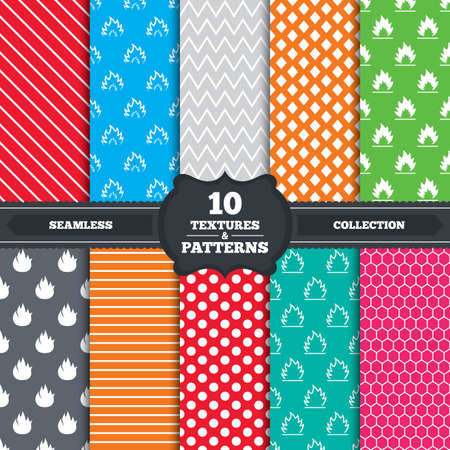inflammable: Seamless patterns and textures. Fire flame icons. Heat symbols. Inflammable signs. Endless backgrounds with circles, lines and geometric elements. Vector
