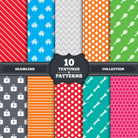 Seamless patterns and textures. Home key icon. Wrench service tool symbol. Locker sign. Main page web navigation. Endless backgrounds with circles, lines and geometric elements. Vector Vector