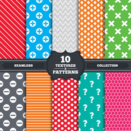 enlarge: Seamless patterns and textures. Plus and minus icons. Delete and question FAQ mark signs. Enlarge zoom symbol. Endless backgrounds with circles, lines and geometric elements. Vector