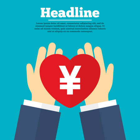 community service: Helping hands with heart. Yen sign icon. JPY currency symbol. Money label. Charity symbol with headline. Vector
