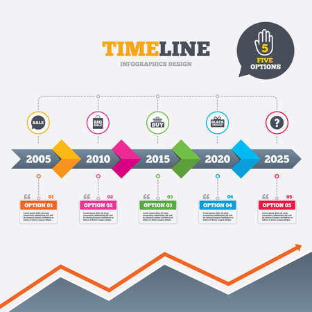 Timeline infographic with arrows. Sale speech bubble icons. Buy cart symbols. Black friday gift box signs. Big sale shopping bag. Five options with hand. Growth chart. Vector