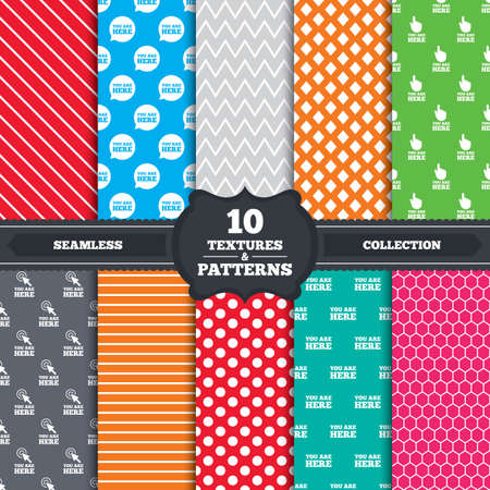 10 fingers: Seamless patterns and textures. You are here icons. Info speech bubble symbol. Map pointer with your location sign. Hand cursor. Endless backgrounds with circles, lines and geometric elements. Vector Illustration