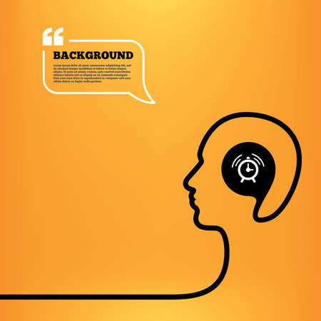 think up: Head think with speech bubble. Alarm clock sign icon. Wake up alarm symbol. Orange background with quotes. Vector Illustration