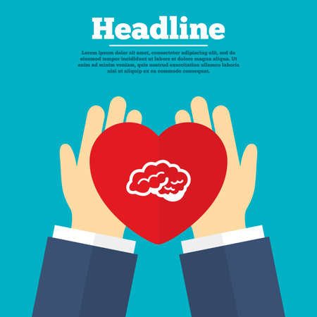 cerebellum: Helping hands with heart. Brain with cerebellum sign icon. Human intelligent smart mind. Charity symbol with headline. Vector Illustration