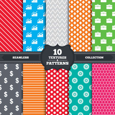 Seamless patterns and textures. Business icons. Graph chart and case signs. Dollar currency and gear cogwheel symbols. Endless backgrounds with circles, lines and geometric elements. Vector Vector