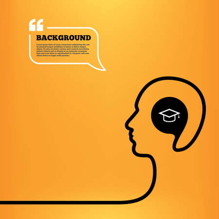 higher quality: Head think with speech bubble. Graduation cap sign icon. Higher education symbol. Orange background with quotes. Vector Illustration