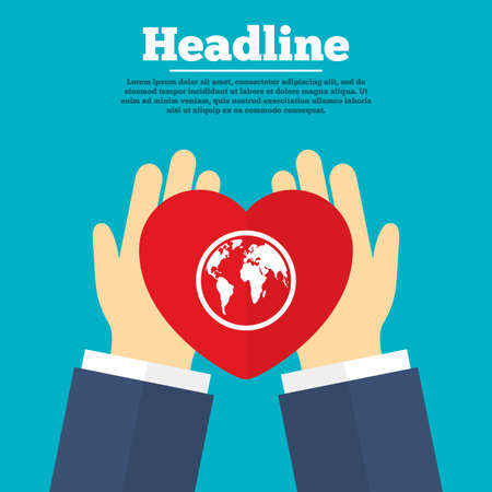 ayudando: Ayudar a las manos con el coraz�n. Icono de la muestra Globe. Mapa del mundo s�mbolo de la geograf�a. S�mbolo de la caridad con titular. Vector