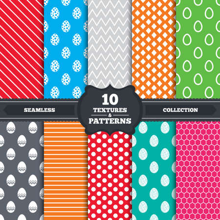 pasch: Seamless patterns and textures. Easter eggs icons. Circles and floral patterns symbols. Tradition Pasch signs. Endless backgrounds with circles, lines and geometric elements. Vector Illustration