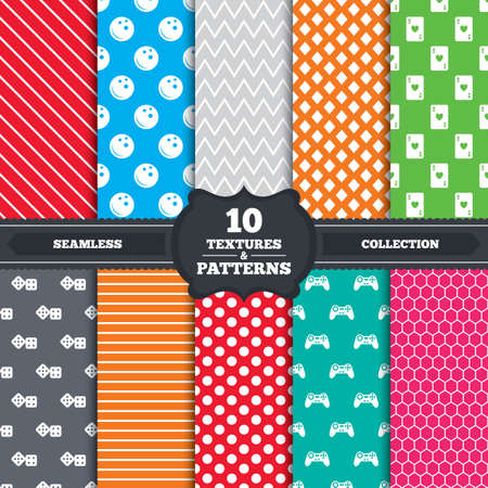 playing video game: Seamless patterns and textures. Bowling and Casino icons. Video game joystick and playing card with dice symbols. Entertainment signs. Endless backgrounds with circles, lines and geometric elements. Vector Illustration