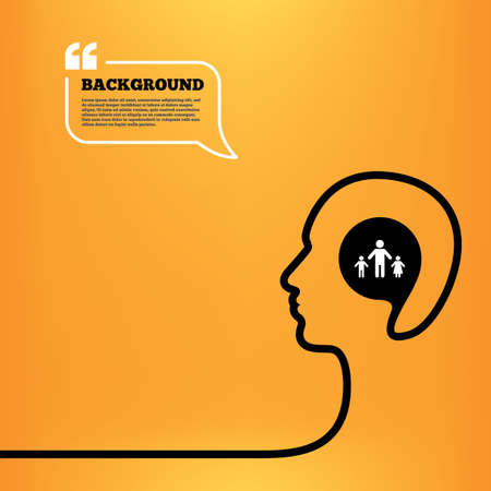 family with two children: Head think with speech bubble. One-parent family with two children sign icon. Father with son and daughter symbol. Orange background with quotes. Vector