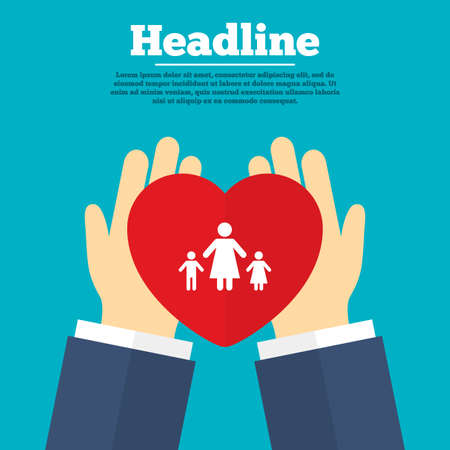 Helping hands with heart. One-parent family with two children sign icon. Mother with son and daughter symbol. Charity symbol with headline. Vector