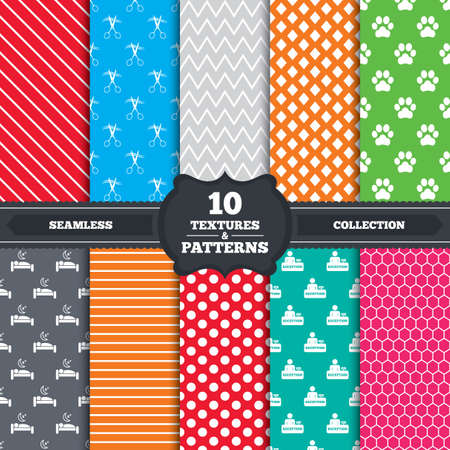 dog allowed: Seamless patterns and textures. Hotel services icons. With pets allowed in room signs. Hairdresser or barbershop symbol. Reception registration table. Quiet sleep. Endless backgrounds with circles, lines and geometric elements. Vector