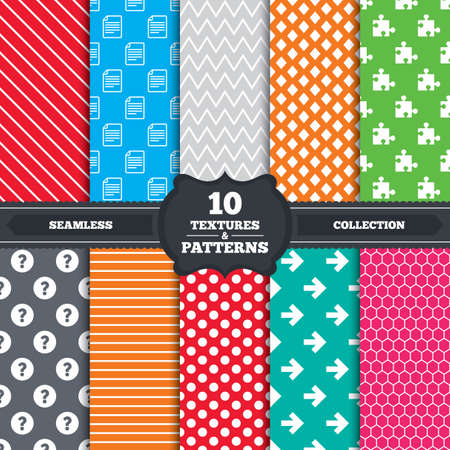 docs: Seamless patterns and textures. Question mark and puzzle piece icons. Document file and next arrow sign symbols. Endless backgrounds with circles, lines and geometric elements. Vector