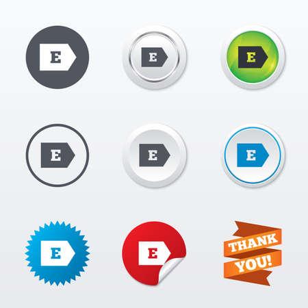 consumo energia: L'efficienza energetica di classe E sign icon. Energia simbolo consumo. Cerchio concetto pulsanti. Bordo di metallo. Star e etichetta adesiva. Vettore Vettoriali