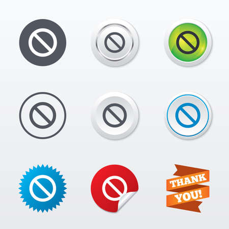 Blacklist sign icon. User not allowed symbol. Circle concept buttons. Metal edging. Star and label sticker. Vector