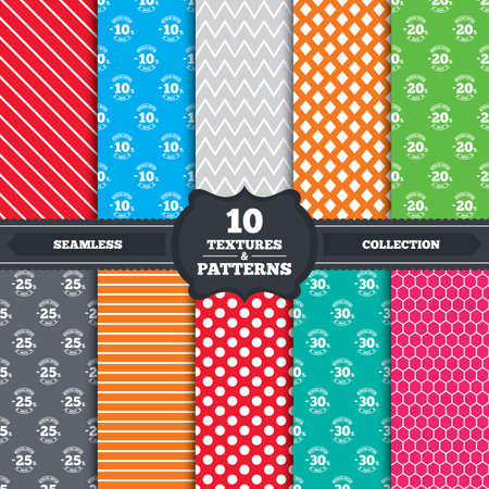 20 to 25: Seamless patterns and textures. Sale discount icons. Special offer stamp price signs. 10, 20, 25 and 30 percent off reduction symbols. Endless backgrounds with circles, lines and geometric elements. Vector