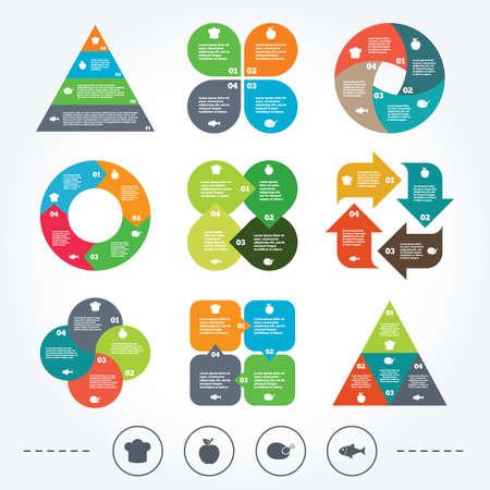 piramide humana: Circle y diagrama tri�ngulo gr�ficos. Iconos del alimento. Fruta de Apple con s�mbolo de la hoja. Gallina del pollo signo de carne de aves. Pescado y sombrero de Chef iconos. Fondo con 4 opciones pasos. Vector