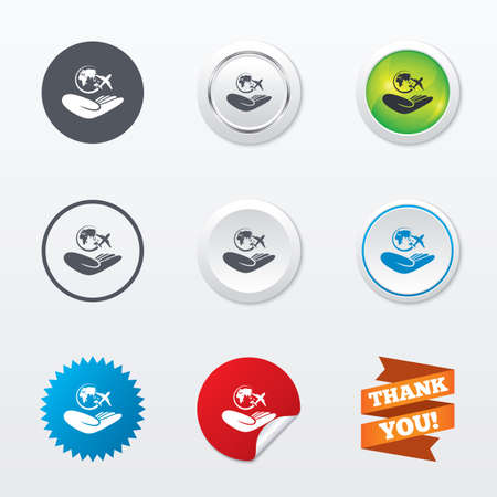 peace label: World trip insurance sign. Hand holds planet symbol. Travel insurance. World peace. Circle concept buttons. Metal edging. Star and label sticker. Vector