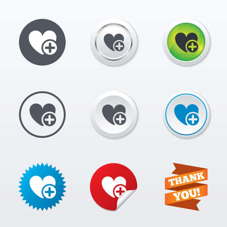 Heart sign icon. Add lover symbol. Plus love. Circle concept buttons. Metal edging. Star and label sticker. Vector Vector