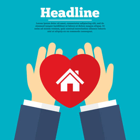 main: Helping hands with heart. Home sign icon. Main page button. Navigation symbol. Charity symbol with headline. Vector