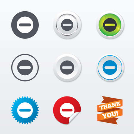 Minus sign icon. Negative symbol. Zoom out. Circle concept buttons. Metal edging. Star and label sticker. Vector Vector
