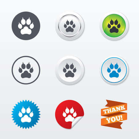 curve claw: Dog paw with clutches sign icon. Pets symbol. Circle concept buttons. Metal edging. Star and label sticker. Vector Illustration