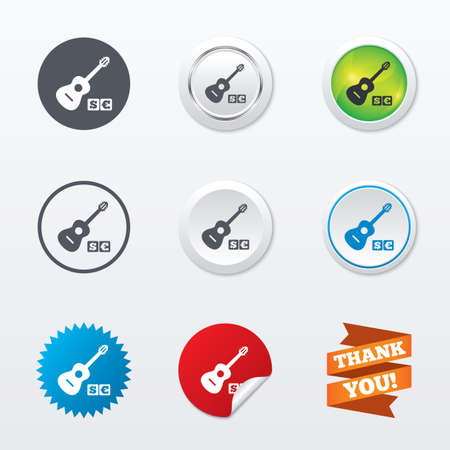 Acoustic guitar sign icon. Paid music symbol. Circle concept buttons. Metal edging. Star and label sticker. Vector