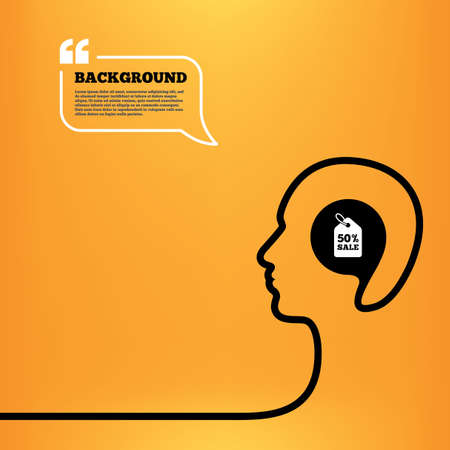 head tag: Head think with speech bubble. 50% sale price tag sign icon. Discount symbol. Special offer label. Orange background with quotes. Vector