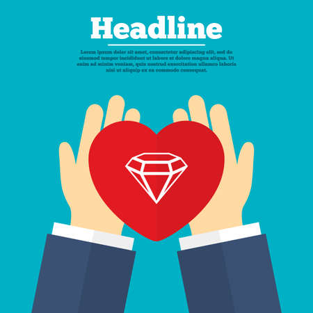heart diamond: Helping hands with heart. Diamond sign icon. Jewelry symbol. Gem stone. Charity symbol with headline. Vector