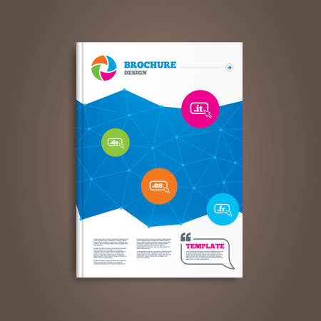 vector es: Brochure or flyer design. Top-level internet domain icons. De, It, Es and Fr symbols with cursor pointer. Unique national DNS names. Book template. Vector