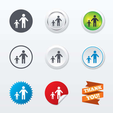 family with one child: One-parent family with one child sign icon. Father with son symbol. Circle concept buttons. Metal edging. Star and label sticker. Vector