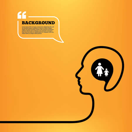 family with one child: Head think with speech bubble. One-parent family with one child sign icon. Mother with daughter symbol. Orange background with quotes. Vector