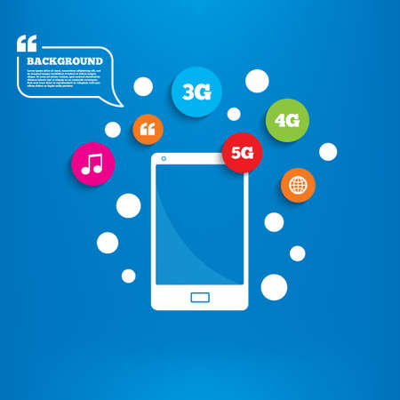 5g: Smartphone with speech bubble. Mobile telecommunications icons. 3G, 4G and 5G technology symbols. World globe sign. Background with circles, quotes and musical note. Vector Illustration