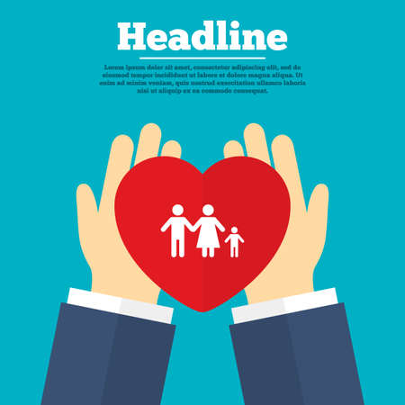 family with one child: Helping hands with heart. Family with one child sign icon. Complete family symbol. Charity symbol with headline. Vector