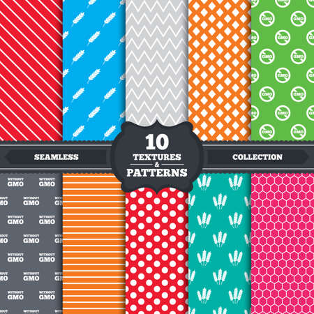 no lines: Seamless patterns and textures. Agricultural icons. Gluten free or No gluten signs. Without Genetically modified food symbols. Endless backgrounds with circles, lines and geometric elements. Vector