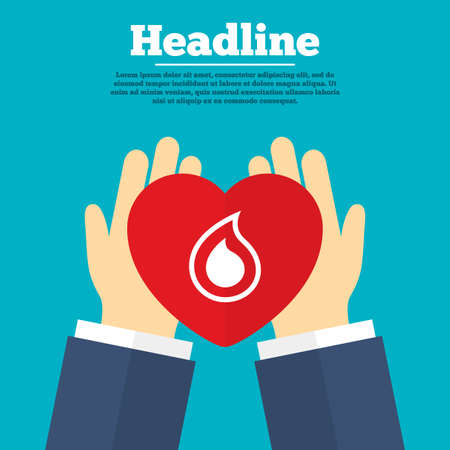 tear: Helping hands with heart. Water drop sign icon. Tear symbol. Charity symbol with headline. Vector Illustration