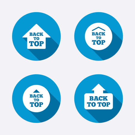 scroll up: Back to top icons. Scroll up with arrow sign symbols. Circle concept web buttons. Vector