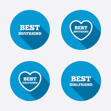 boyfriend: Best boyfriend and girlfriend icons. Heart love signs. Award symbol. Circle concept web buttons. Vector