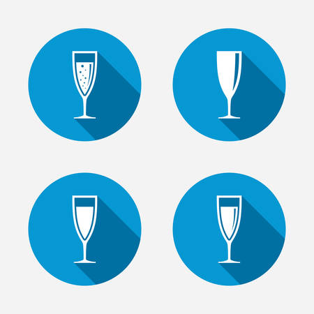 Champagne wine glasses icons. Alcohol drinks sign symbols. Sparkling wine with bubbles. Circle concept web buttons. Vector Illustration