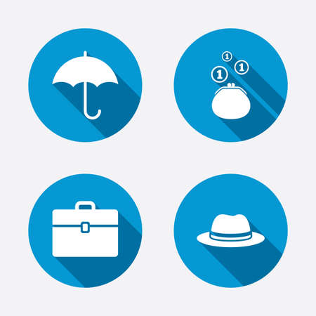 business case: Clothing accessories icons. Umbrella and headdress hat signs. Wallet with cash coins, business case symbols. Circle concept web buttons. Vector
