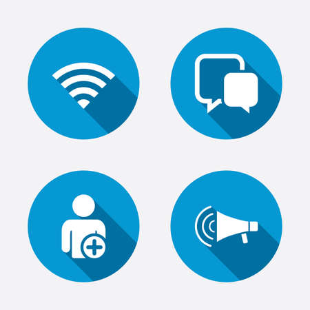 Wifi and chat bubbles icons. Add user and megaphone loudspeaker symbols. Communication signs. Circle concept web buttons. Vector