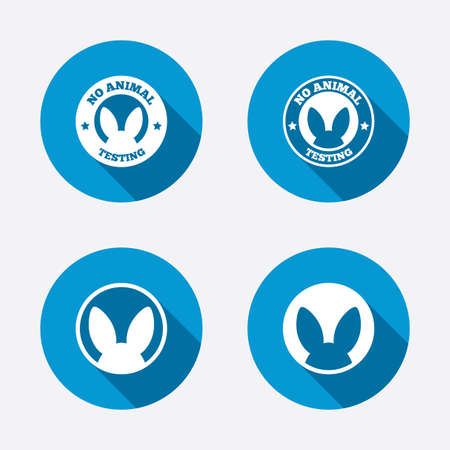 test: No animals testing icons. Non-human experiments signs symbols. Circle concept web buttons. Vector