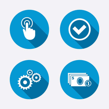 withdrawal: ATM cash machine withdrawal icons. Click here, check PIN number, processing and cash withdrawal symbols. Circle concept web buttons. Vector