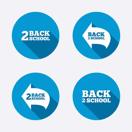 after school: Back to school icons. Studies after the holidays signs symbols. Circle concept web buttons. Vector