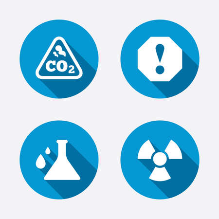 danger carbon dioxide  co2  labels: Attention and radiation icons. Chemistry flask sign. CO2 carbon dioxide symbol. Circle concept web buttons. Vector Illustration