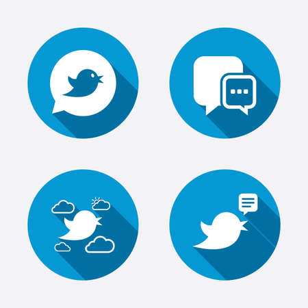 three dots: Birds icons. Social media speech bubble. Chat bubble with three dots symbol. Circle concept web buttons. Vector
